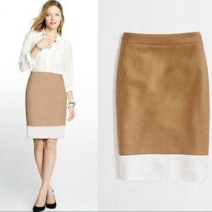 J.Crew Colorblock Tan and White Pencil Skirt